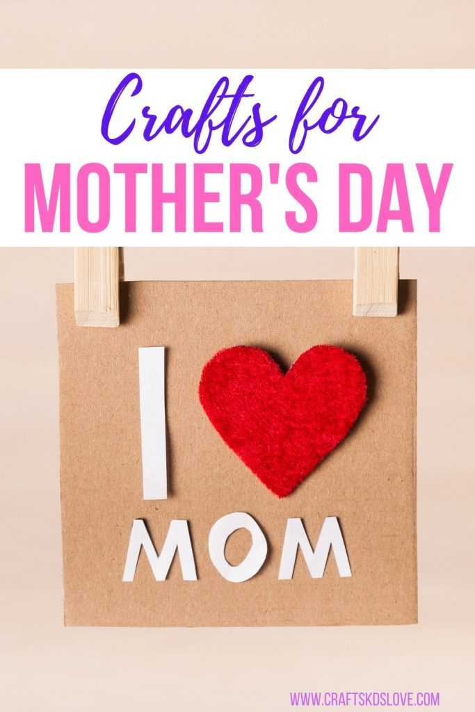 crafts for mother's day - paper square with I (heart) mom