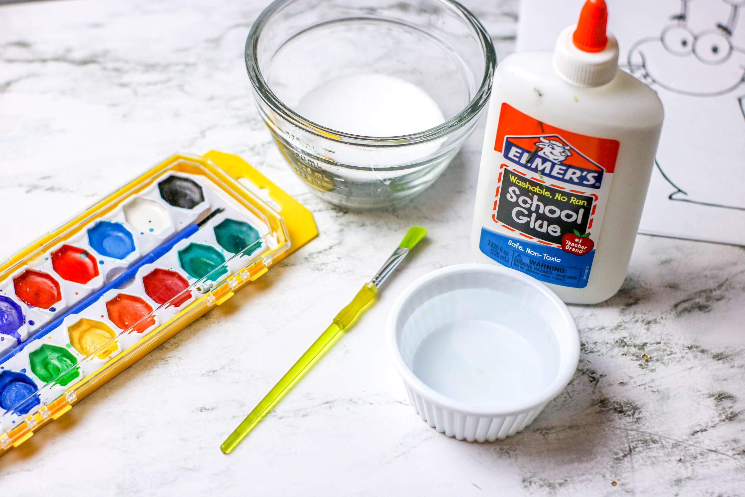 Supplies to make salt painting project