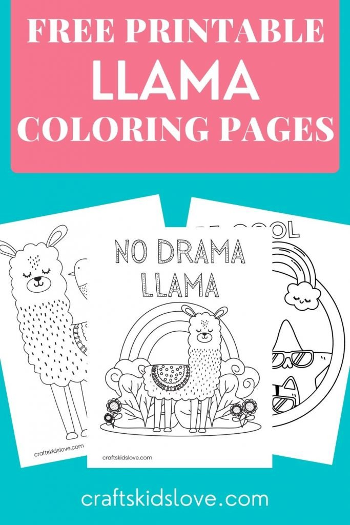 3 free printable llama coloring pages on pink and aqua background