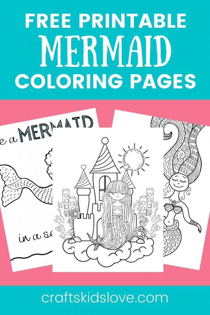 Pin showing mermaid coloring page options on pink background