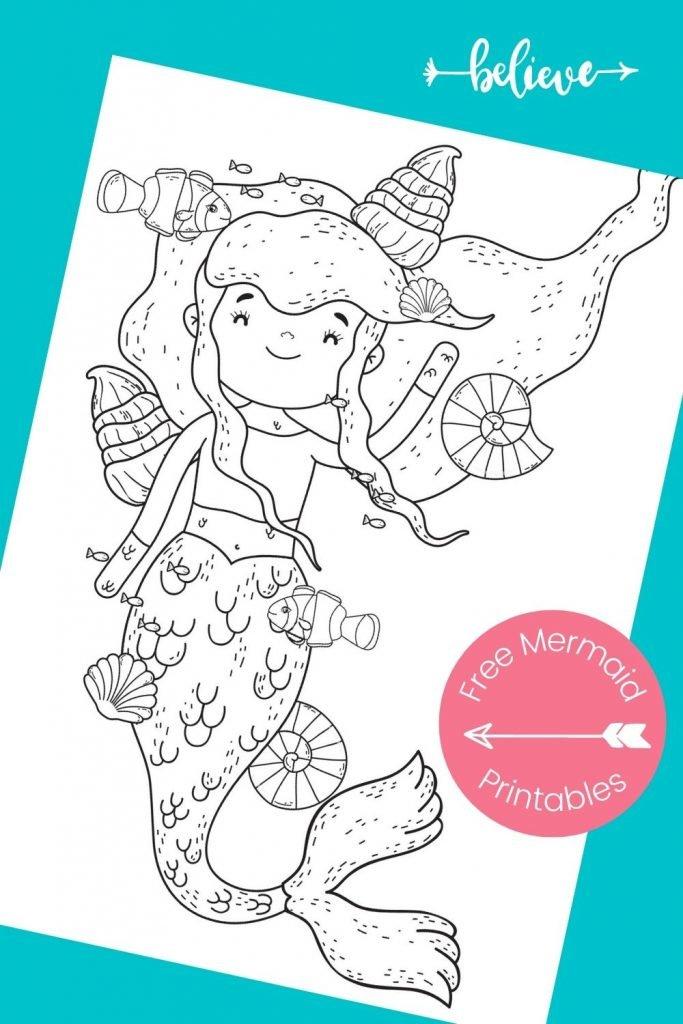 mermaid coloring page printable on aqua background