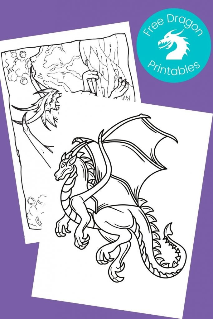 Black and white pictures of dragons to color