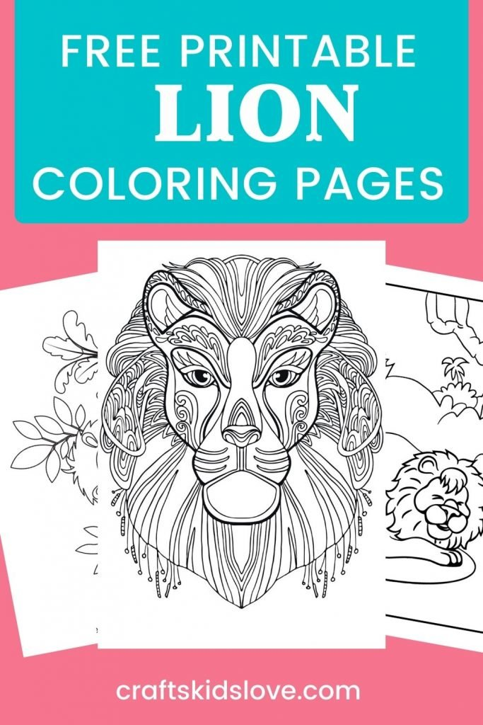 Printable lion coloring pages on pink background