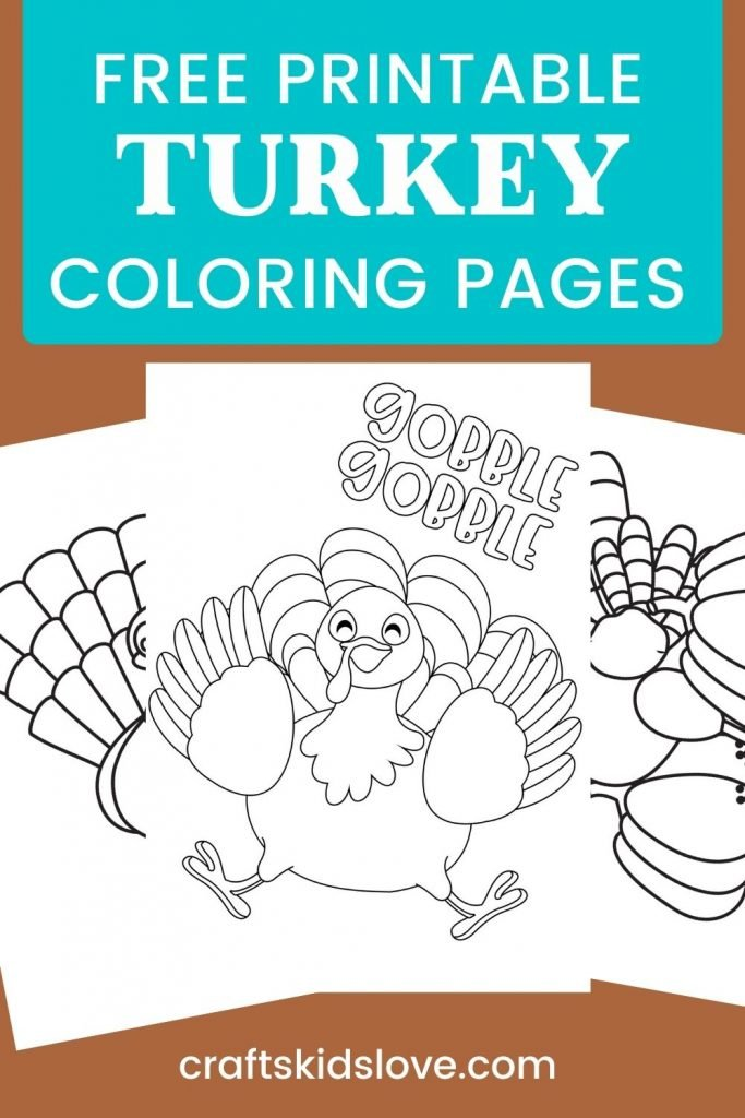 Turkey coloring pages on brown background