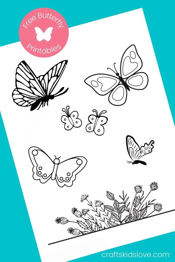 printable butterfly page on aqua background