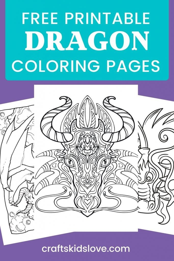 Dragon coloring pages on purple background