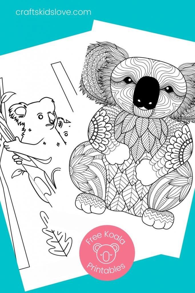 black and white koala mandala coloring sheets to print