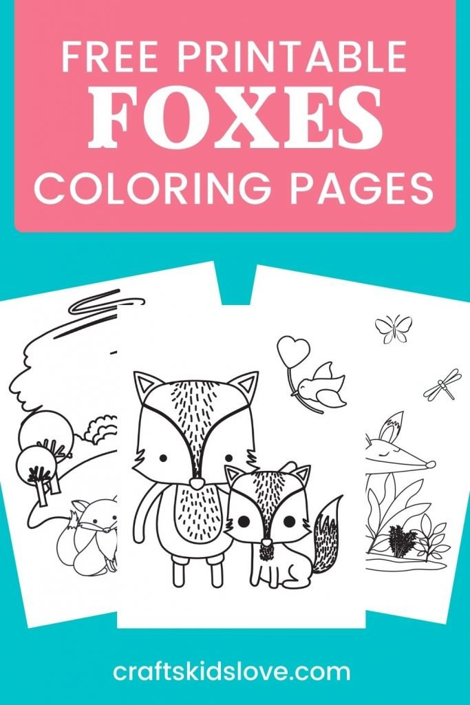 pin showing 3 printable fox coloring pages on aqua background