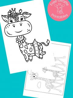 black and white giraffe pictures to color on aqua background