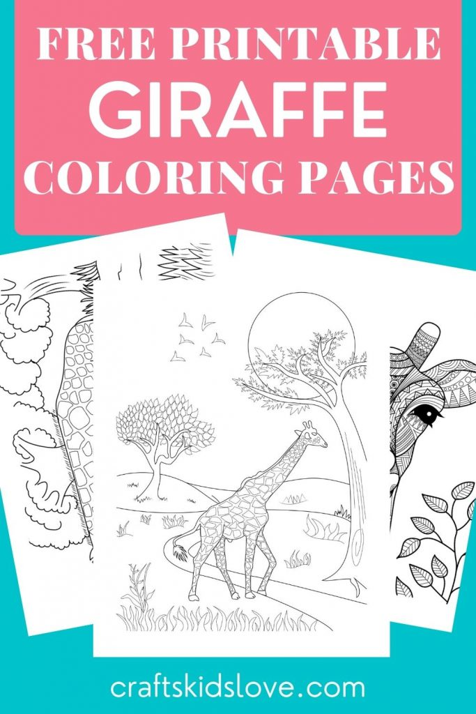 black and white giraffe coloring pages on aqua background