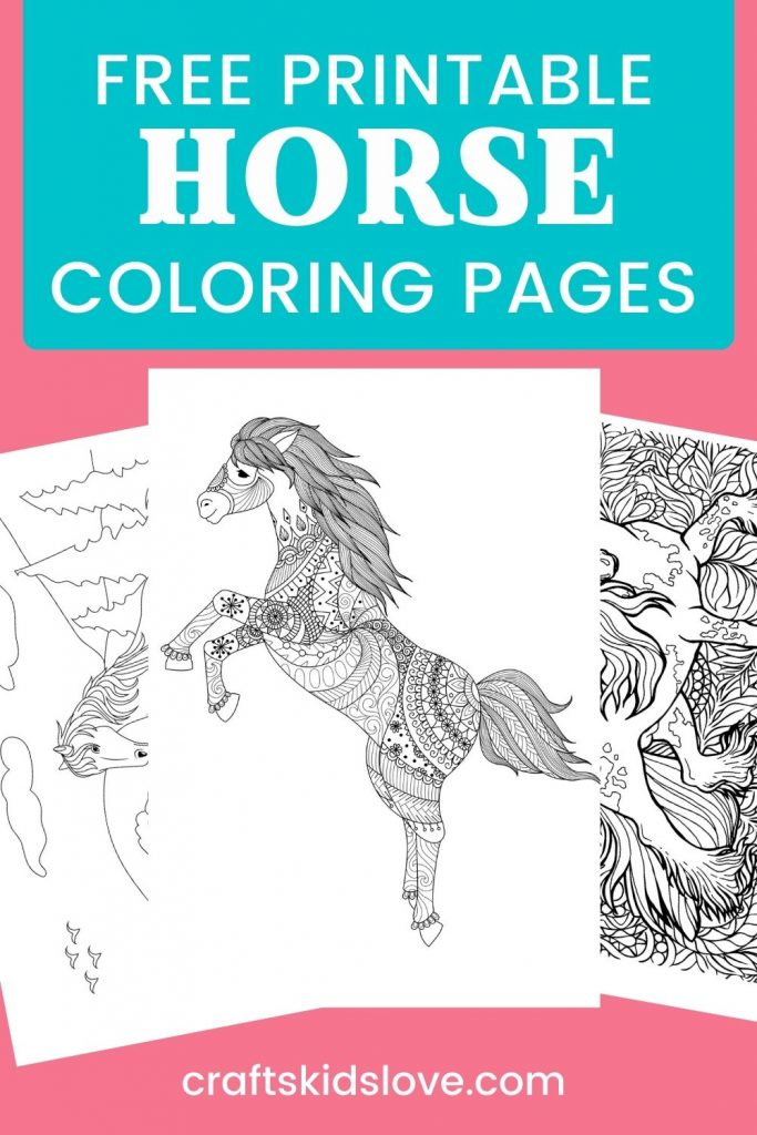 Horse coloring pages on pink background