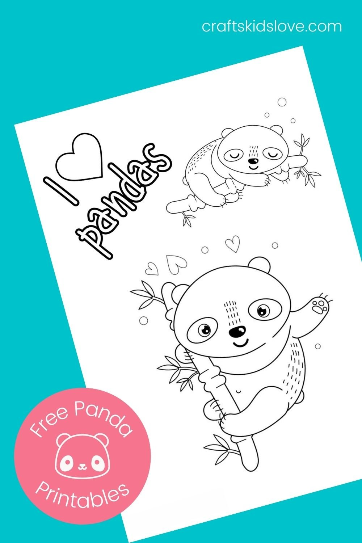 I love panda coloring page on aqua background
