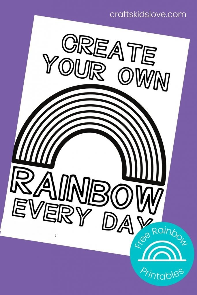 create your own rainbow black and white printable page on purple background