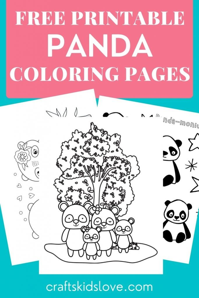 blank panda coloring page printables on aqua background