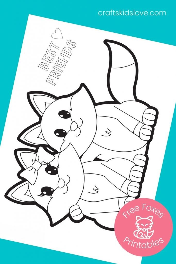 printable fox coloring page best friends on aqua background