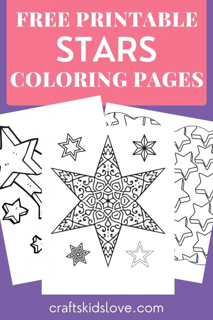 black and white star coloring pages on purple background