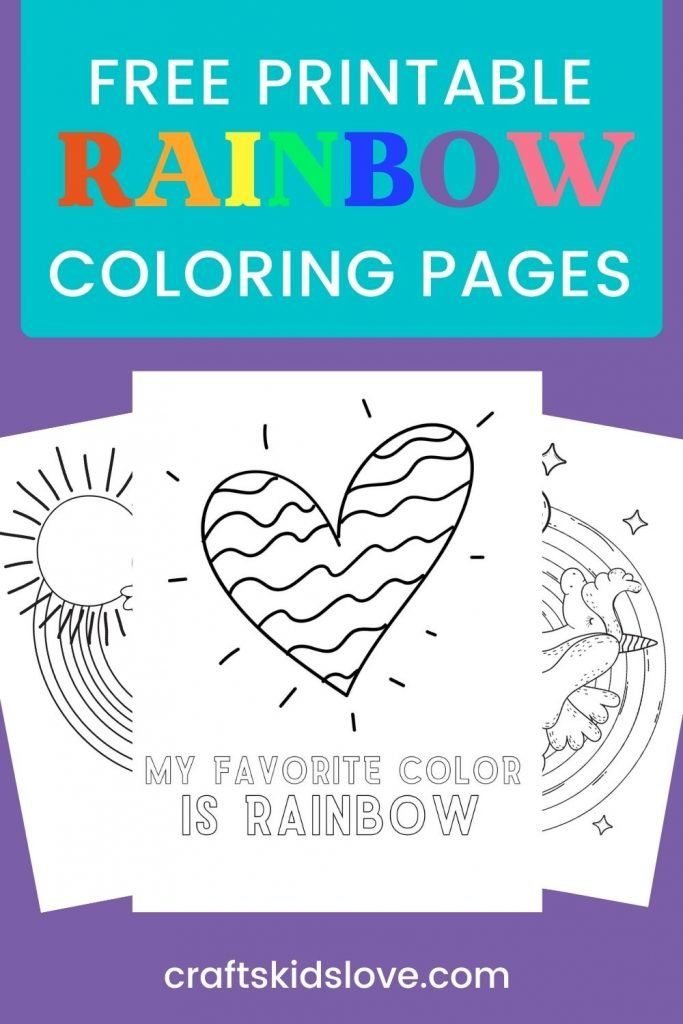 Pin for printable rainbow coloring pages showing blank drawings on purple background