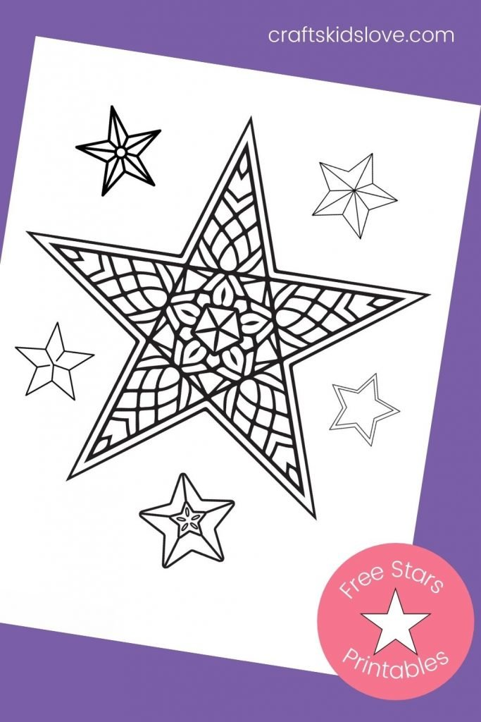 star mandala on purple background - printable star coloring sheets