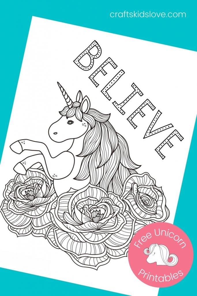 unicorn rose printable coloring page
