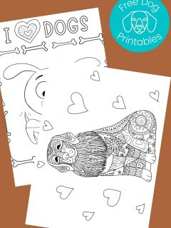 Black and white Dog coloring pages on brown background