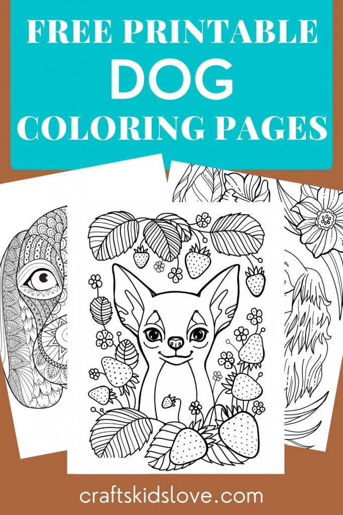Free printable dog coloring pages on brown background