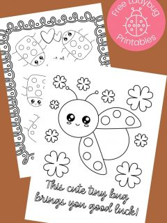 black and white ladybug coloring pages on brown background
