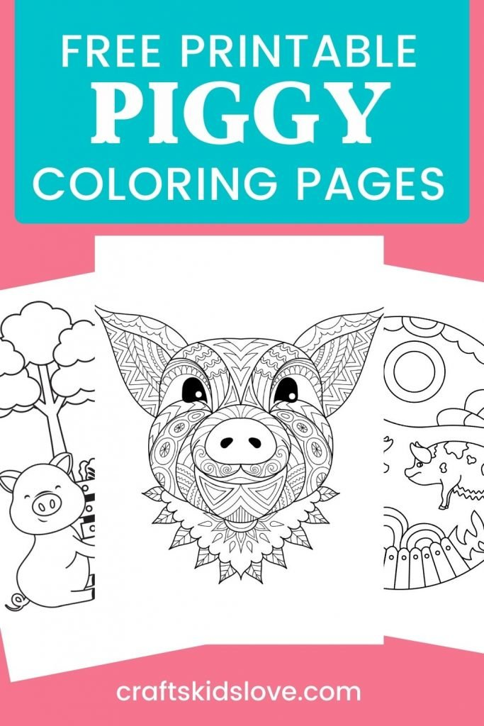 black and white pig coloring pages on pink background