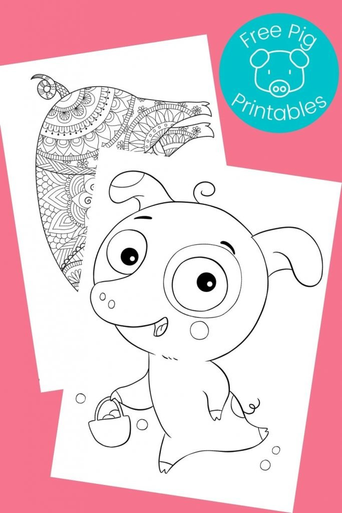 black and white piggy coloring pages on pink background