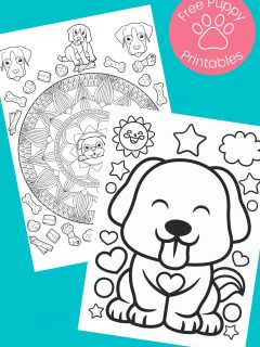 Black and white Puppy Coloring Pages on aqua background
