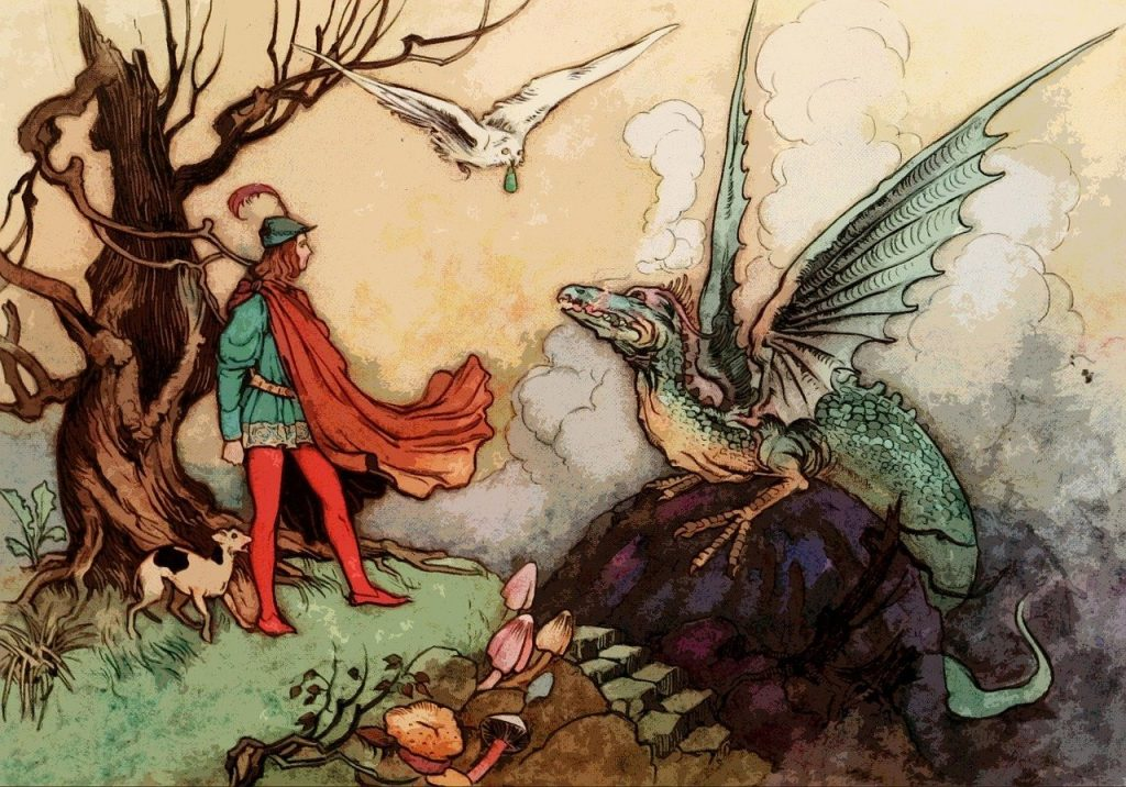 art showing knight with falcon and dragon