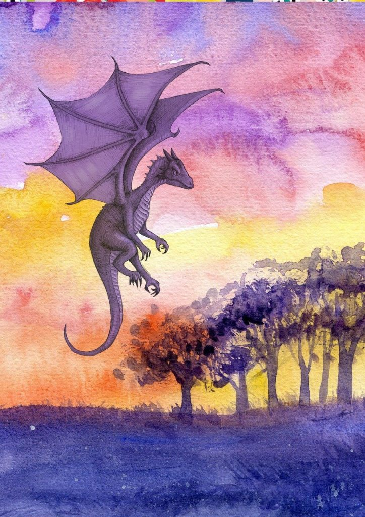 art showing purple dragon flying in sky