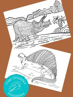 Black and white dinosaur pictures to color on brown background