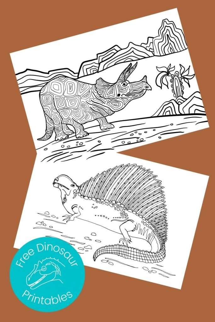 Black and white pictures of dinosaurs to color on brown background