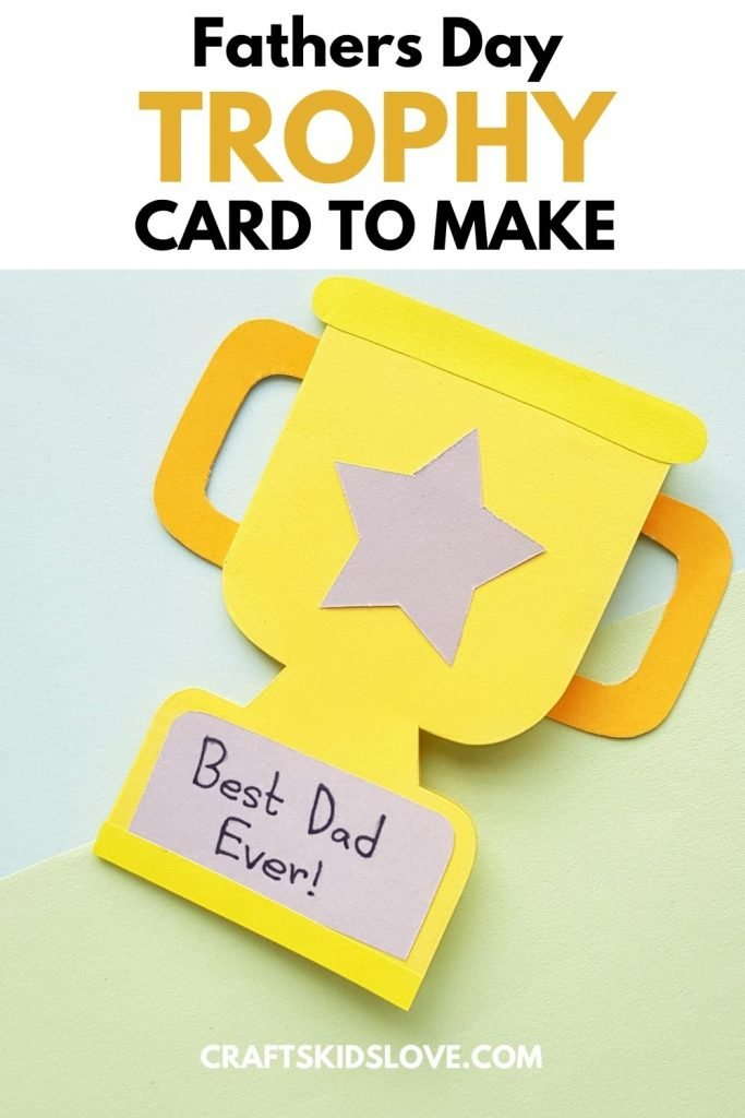 Gold paper trophy card that says Best Dad Ever