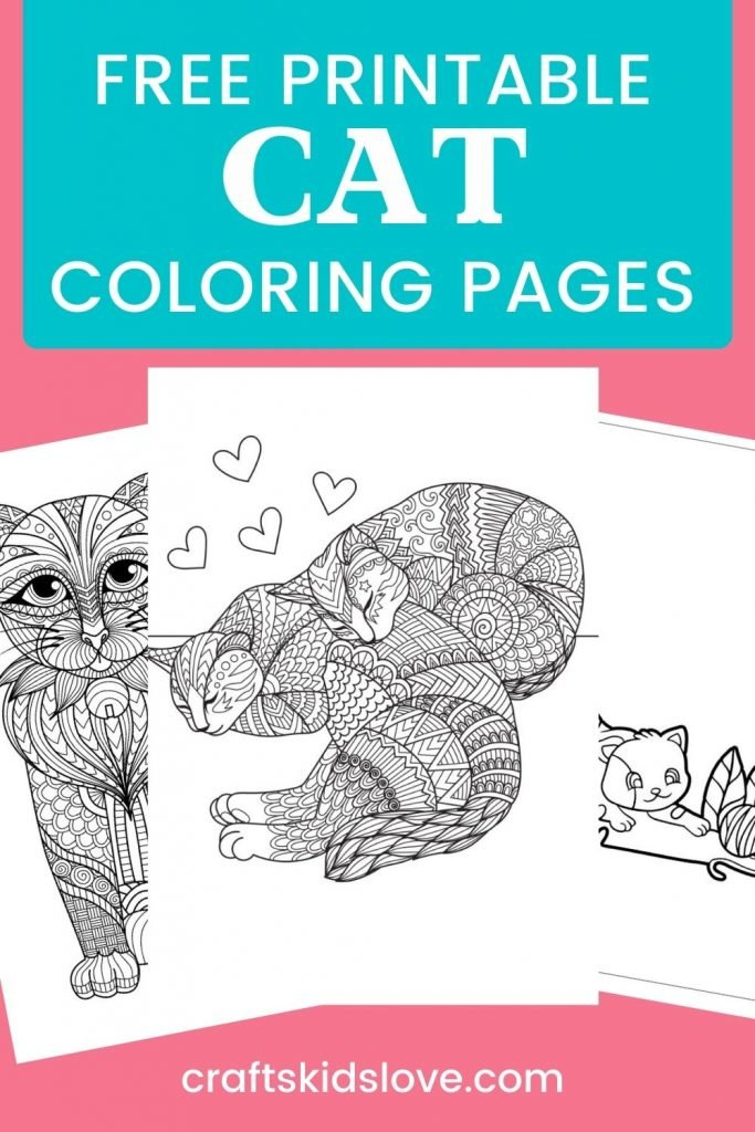 Black and white cat coloring pages on pink background