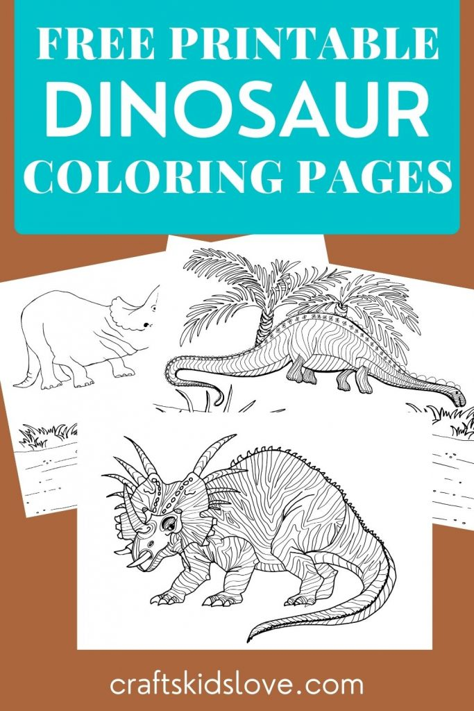 Black and white dinosaur coloring pages on brown background