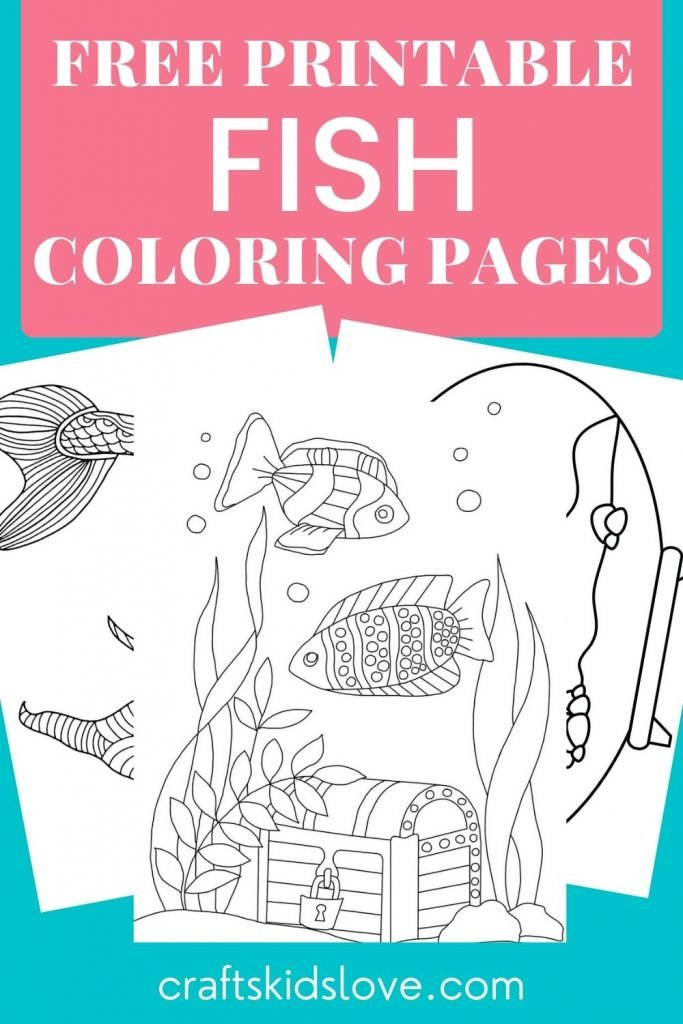 Black and white fish coloring pages on aqua background