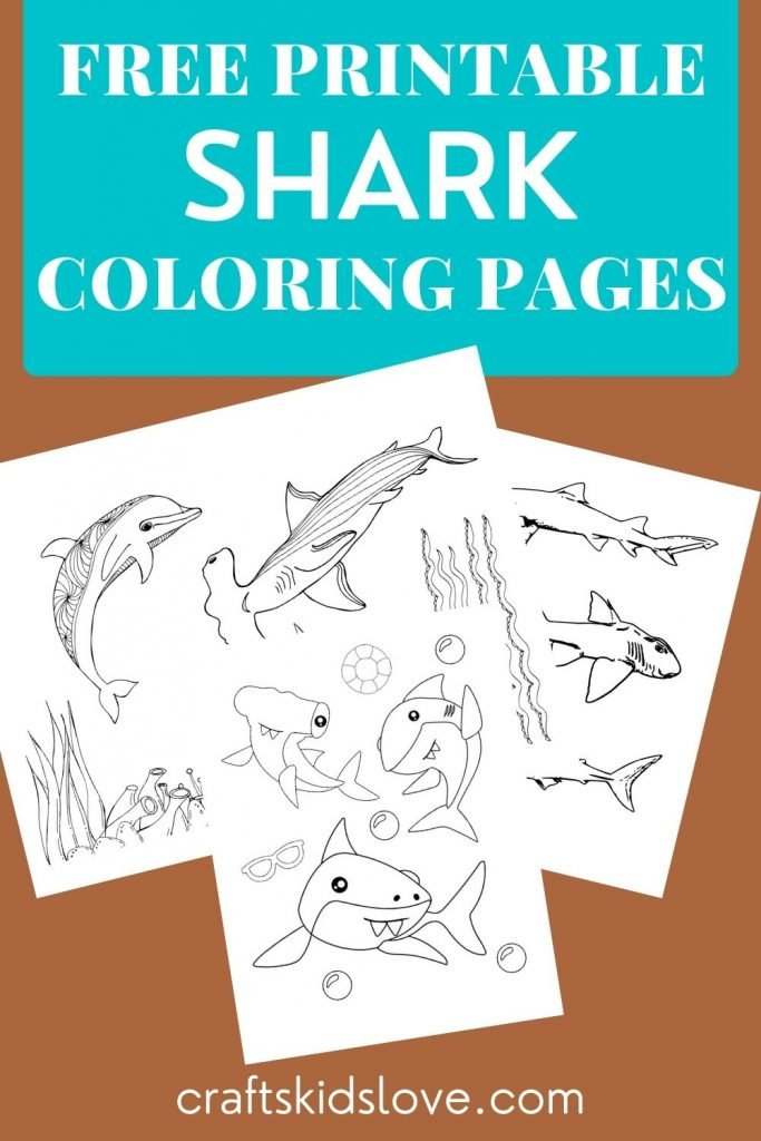 Black and white shark coloring pages to print