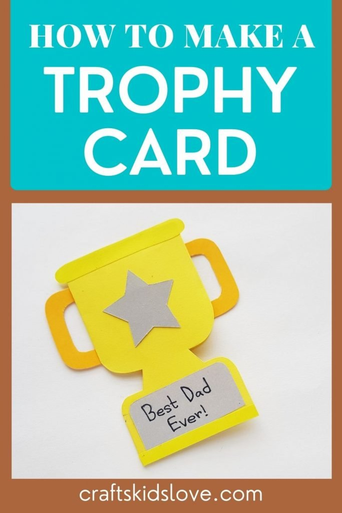 How to make a trophy card - pin with picture of yellow cardstock paper trophy on a brown background
