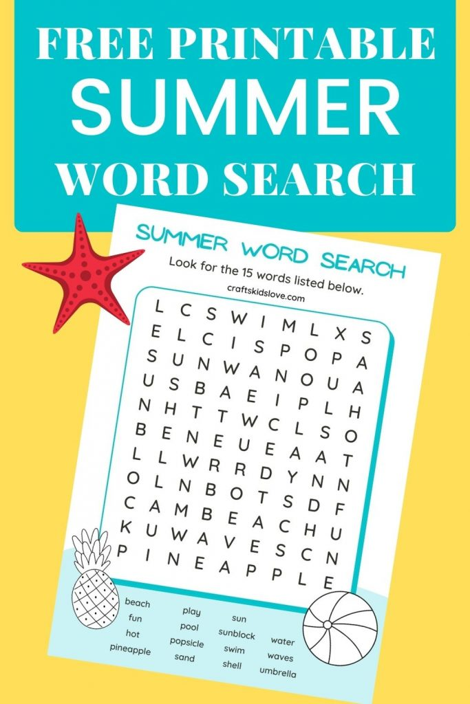 blue and white printable summer word search on yellow background