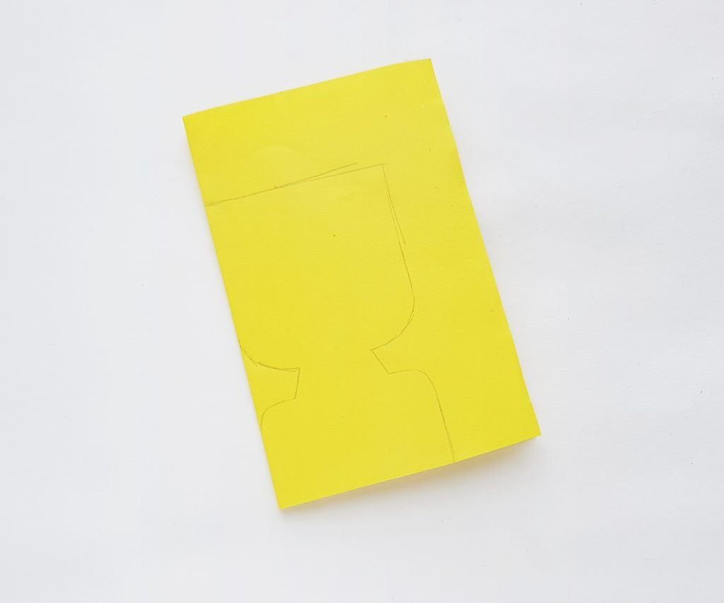 Yellow cardstock on white background - step 2
