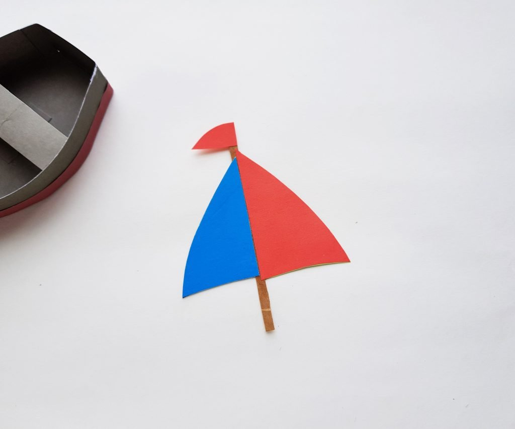 red and blue sail for paper boat craft