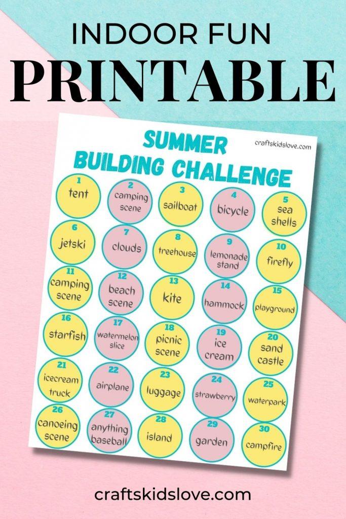 Indoor fun printable building challenge