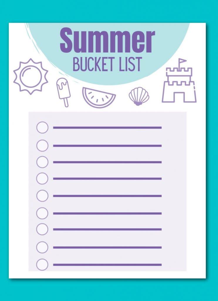 summer bucket list printable on aqua background