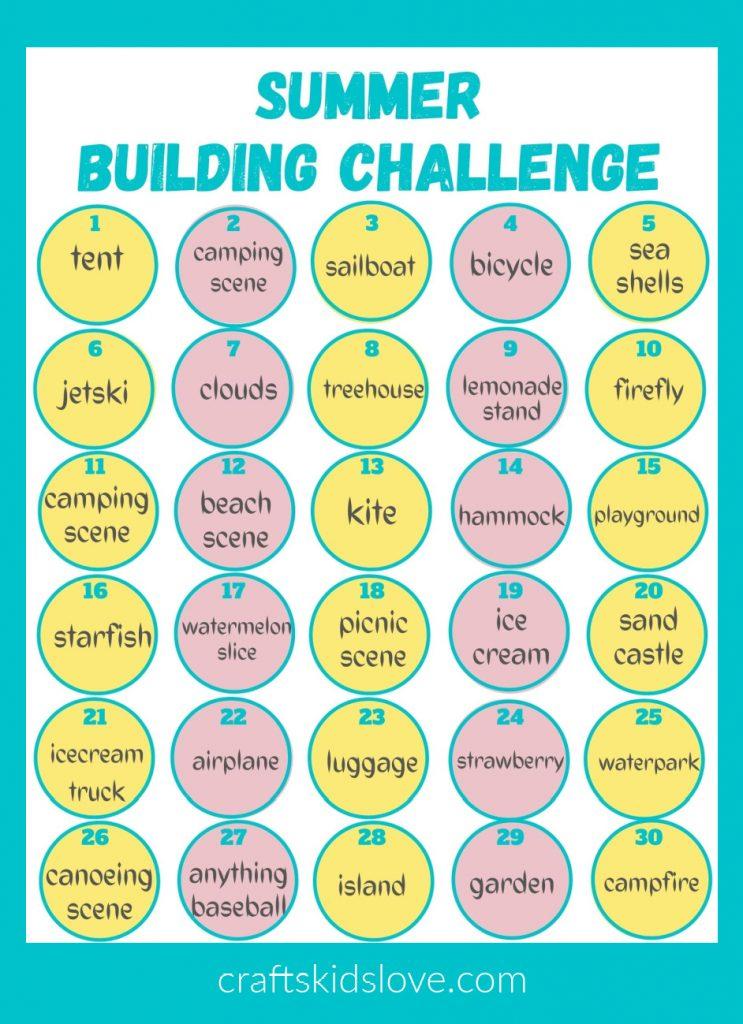 summer building challenge printable on aqua background