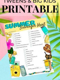 tween and big kid printable summer scavenger hunt