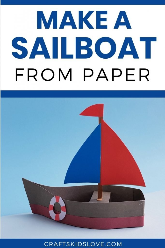 brown red and blue paper sailboat on blue background